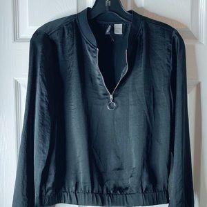 H&M Silk black Zip up Blouse